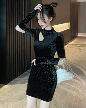 Hollow autumn and winter liangsi bottoming slim dress