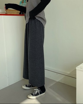 Knitted stripe wide leg casual pants