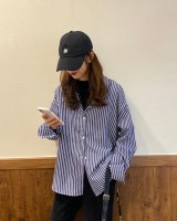 Stripe long sleeve single-breasted loose all-match shirt