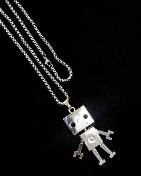 Couples robot necklace