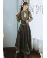 Pleated France style winter retro dress 2pcs set