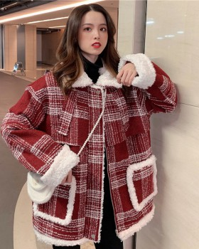 Lambs wool winter Korean style woolen thick coat