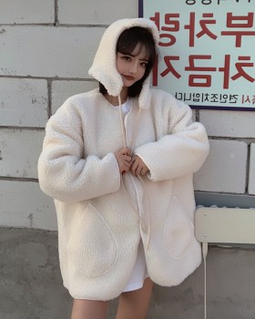 Hooded plush overcoat lambs wool coat for women