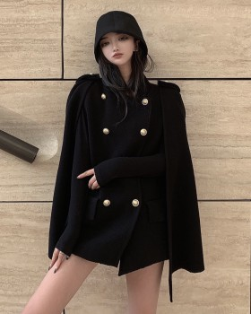 Long bat sleeve cloak British style woolen coat
