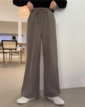 Knitted elastic waist pants mopping sueding casual pants