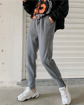 Thick plus velvet side zip all-match casual pants
