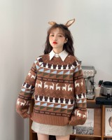 Pattern christmas lantern sleeve long sleeve sweater