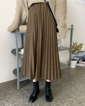 Pleated winter pure sweet long woolen skirt