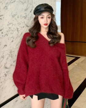V-neck loose thick bottoming pullover mink velvet sweater