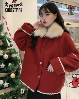 Clip cotton autumn and winter thick red woolen coat