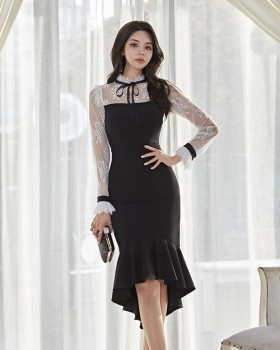 Package hip lace long slim pinched waist dress for women