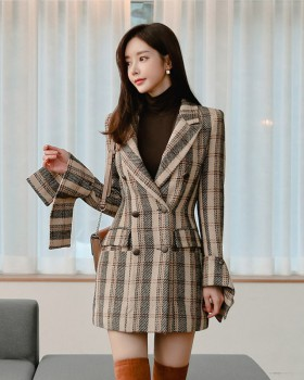 Retro overcoat plaid coat for women