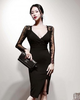 V-neck splice lace sexy autumn package hip dress