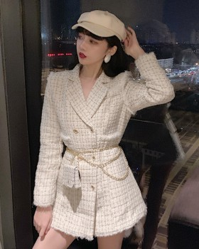 Plaid fashion and elegant bag long temperament woolen coat