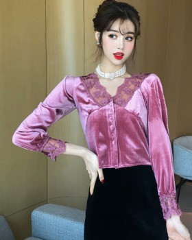 Retro lace backless splice high waist shirt for women