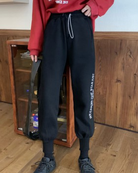 Embroidery sports loose sweatpants for women