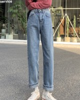 Loose straight pants spring Casual jeans