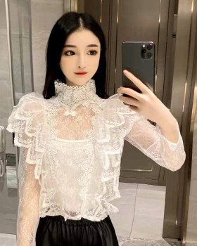 Inside the ride gauze bottoming shirt lace long sleeve tops