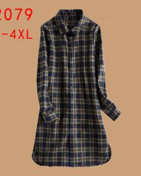 Autumn and winter long art plaid shirt for women