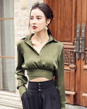 V-neck show high autumn and winter high waist shirt