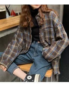 Plaid shirt woolen coat