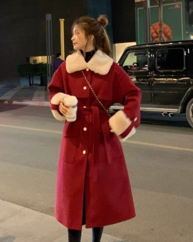 Pinched waist autumn coat temperament woolen coat