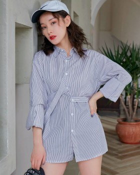 Long spring minority shirt stripe loose tops for women