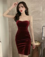 Slim split wrapped chest bottoming sexy dress