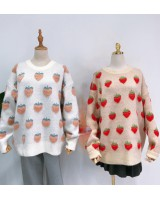 Maiden white bubble strawberries jacquard pink sweater