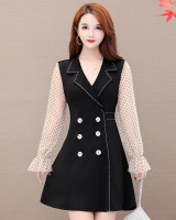Pullover polka dot double-breasted dress for women