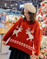 Knitted winter elk tops christmas wears outside sweater