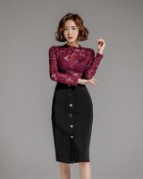 Lace package hip skirt fashion tops 2pcs set