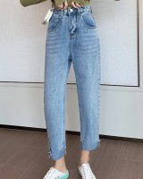 Korean style wide leg pants loose jeans for women