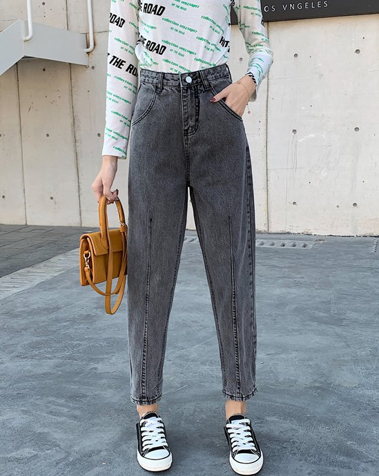 Korean style slim spring carrot pants straight high waist jeans