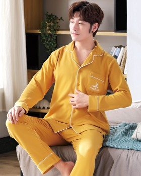 Autumn long sleeve cotton homewear couples pajamas a set