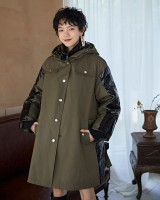 Olive-green hooded windproof coat loose thermal cotton coat