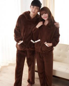 Couples thick pajamas unisex long pants a set