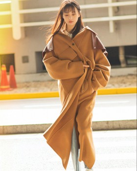 Camel mixed colors windbreaker winter woolen coat for women