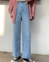 Spring loose denim straight pants light color wide leg pants