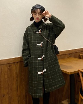 Horn buckle winter overcoat clip cotton plaid woolen coat