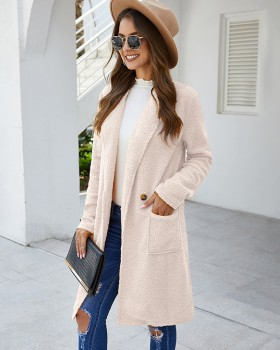 Long European style overcoat fashion woolen coat for women