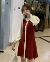 Korean style autumn and winter slim mixed colors dress for women