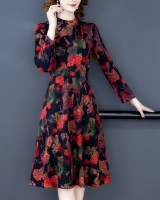 Retro France style long dress printing dress