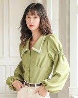 Spring mixed colors pure thick long sleeve shirt