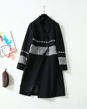 Korean style woolen coat long overcoat for women