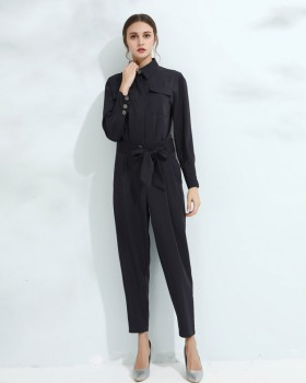 Long sleeve shirt front shell buckle jumpsuit
