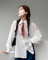 All-match retro lantern sleeve shirt winter pure scarves