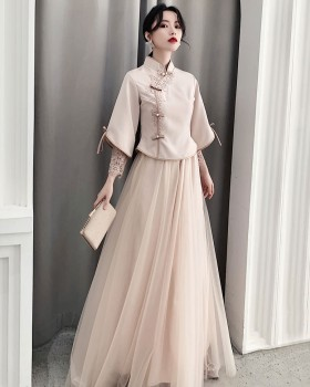 Long dress Chinese style bridesmaid dress for women