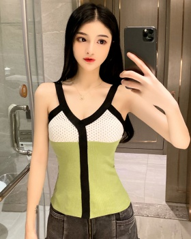 Knitted mixed colors tops spring and autumn vest