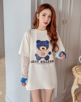 Printing lace loose T-shirt splice long sleeve tops